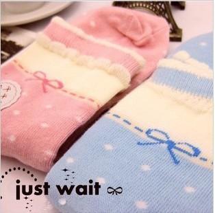 Love~Beauty 10pcs/Lot,Mix Color,Women Candy Color Socks,Bow Dot Design Cute Sock,Mid-tube Casual Cotton,Wholesale