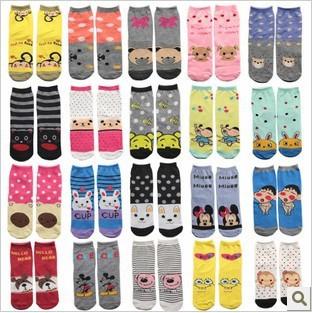 Love~Beauty 9pcs/Lot,Mix Color,Women Socks,Mid-tube Long Design Cute Sock,Casual Cartoon Cotton Sock,Wholesale