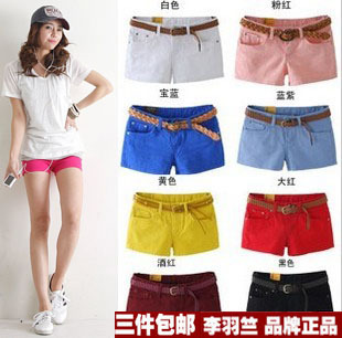 LOVE multicolour shorts casual candy color shorts buy  3 pcs free shippig