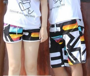 Lovers beach pants sunscreen black orange white lovers shorts
