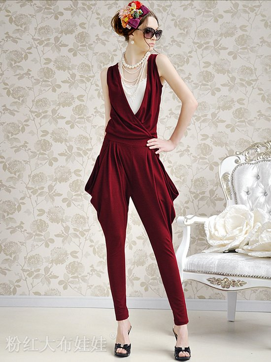 Low Price Hot Sell Gentlewomen Jumpsuits , Long Pant ,Wine Red Color ,Free Shipping