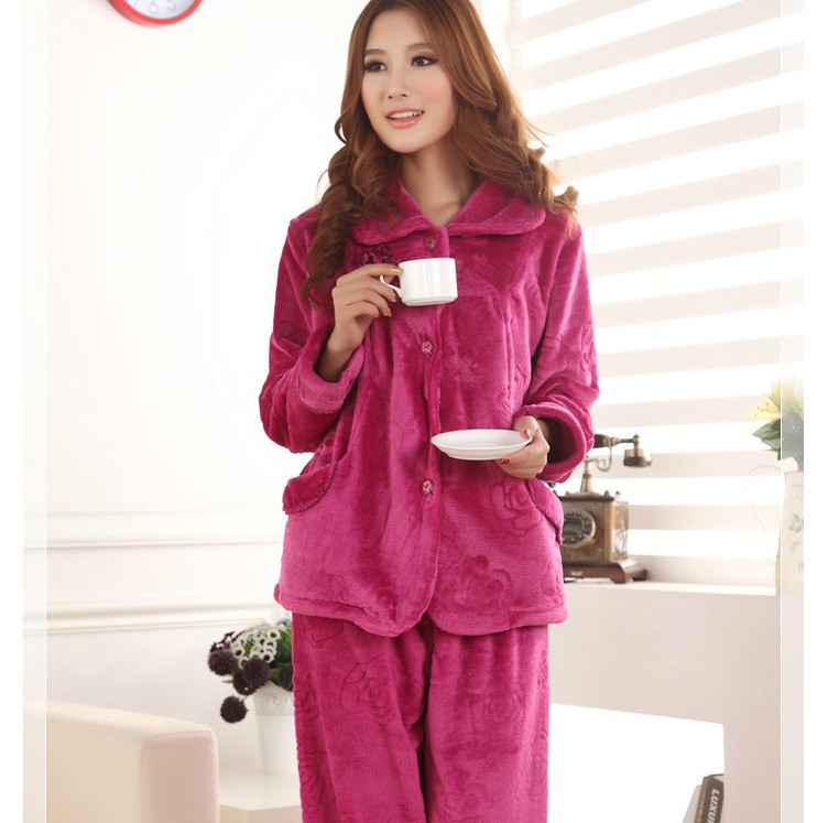 LR Free Shipping Women Dressing Gown Sleepwear Winter Flannel M L XL Min Order $30 Retail Wholesale
