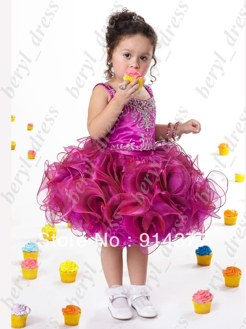 Luxury embroidery  mei pinks  flowers -girl dress lovely cupcake ball gown short beautiful beadeds pleated gril's pageant dress
