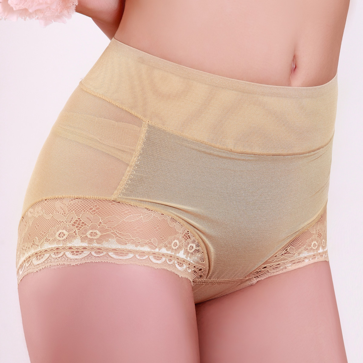 Magnetic therapy care thin mid waist abdomen drawing butt-lifting body shaping pants panties sk146