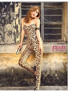 Malaysia necessary sexy nightclub leopard grain by breast pad wrapped thoracic conjoined twin pants