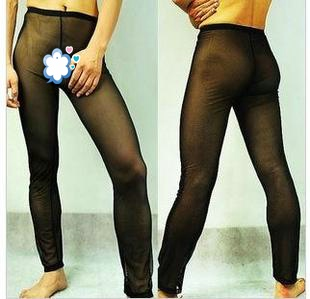 Male gauze underwear lounge pants legging men's transparent sexy black trousers e444
