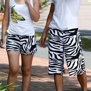 Male Women beach pants zebra print lovers design comfortable