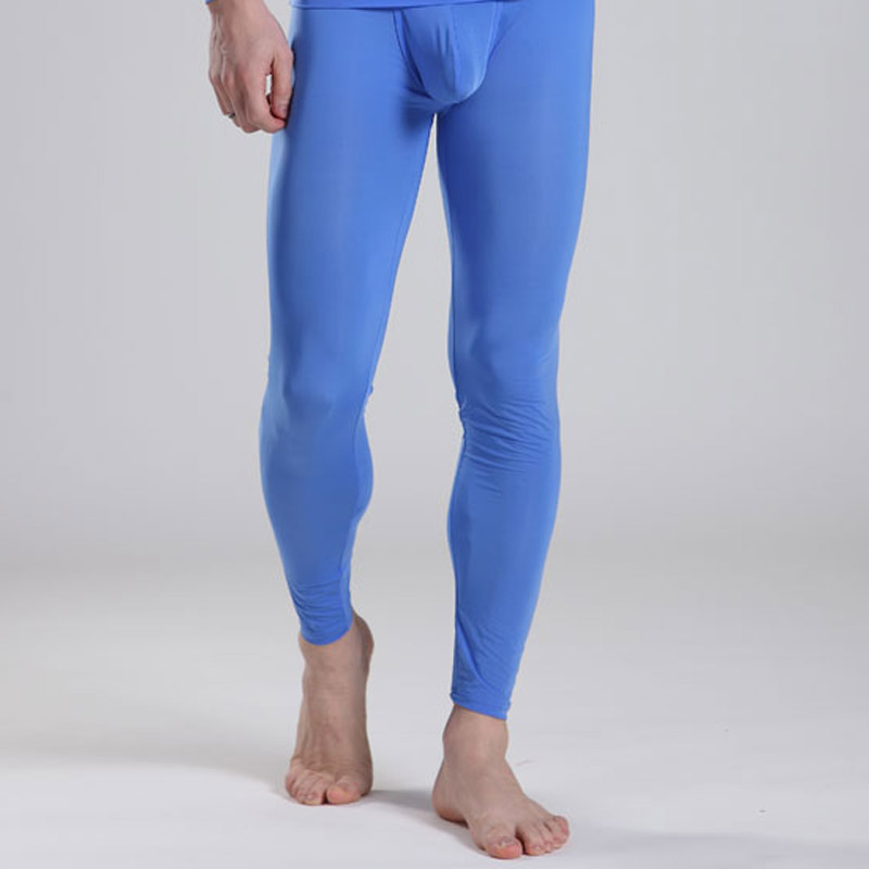 Manview sexy ultra-thin male long johns bodice silky basic underwear separate trousers m03-14