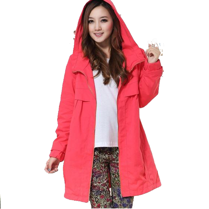 Maternity clothing autumn and winter fashion maternity plus size autumn with a hood long-sleeve outerwear maternity trench