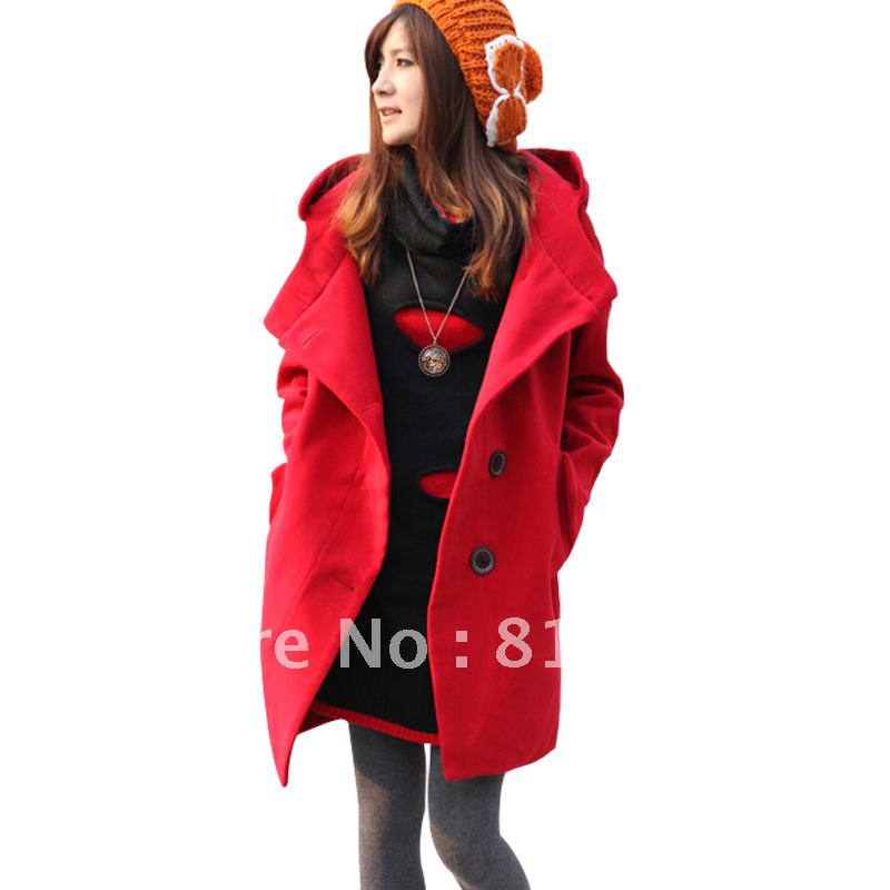Maternity clothing autumn and winter thermal large lapel hooded long design woolen outerwear overcoat top