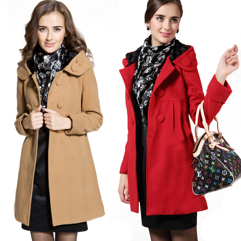 Maternity clothing autumn and winter thickening maternity outerwear double breasted with a hood long design maternity wool coat