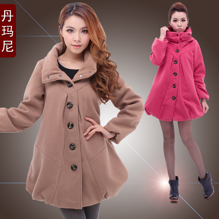 Maternity clothing autumn and winter wool coat outerwear fashion plus size maternity top thickening