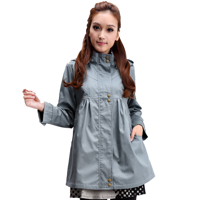 Maternity clothing autumn outerwear maternity top outerwear with a hood small trench a210