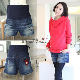 Maternity clothing denim shorts trousers the four seasons fashion boot cut jeans five-pointed star pattern