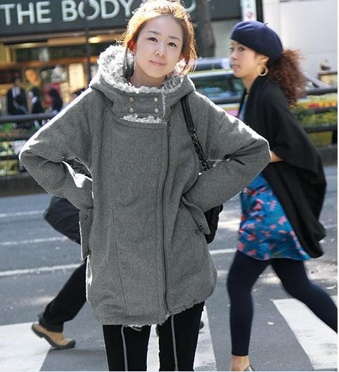 Maternity clothing maternity casual outerwear elegant large lapel with a hood woolen overcoat maternity wadded jacket