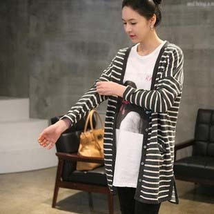 Maternity clothing spring and autumn fashion stripe maternity cardigan sweater all-match maternity outerwear