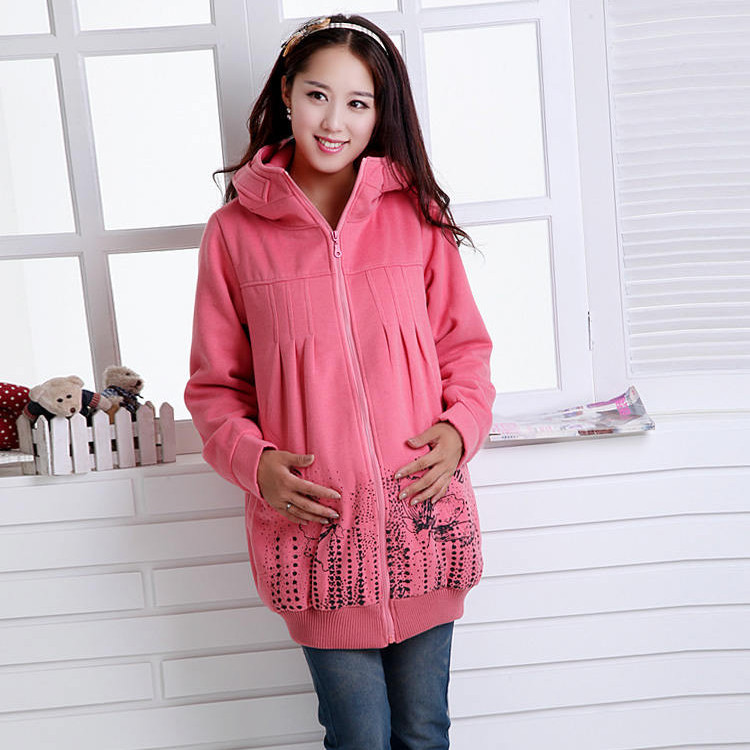 Maternity clothing spring and autumn zipper cardigan maternity outerwear thickening thermal maternity winter sweatshirt -180