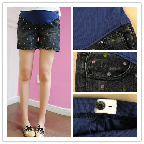 Maternity clothing summer embroidery love maternity shorts maternity pants belly pants summer maternity denim shorts