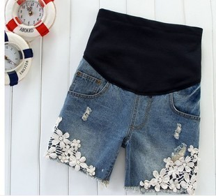 Maternity clothing summer fashion maternity pants laciness maternity shorts maternity denim shorts belly pants