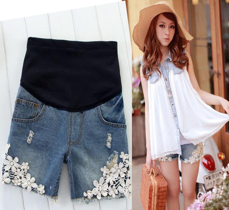 Maternity clothing summer fashion maternity pants laciness maternity shorts maternity denim shorts belly pants w081