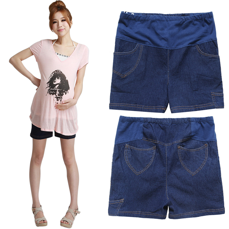 Maternity clothing summer thin denim Dark Blue maternity denim shorts 00796