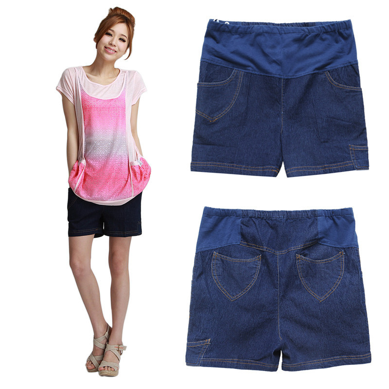 Maternity clothing summer thin denim Dark Blue maternity shorts 00291