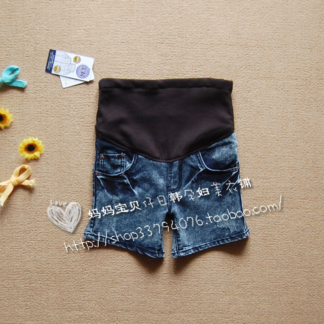 Maternity pants water wash jeans maternity shorts hole jeans