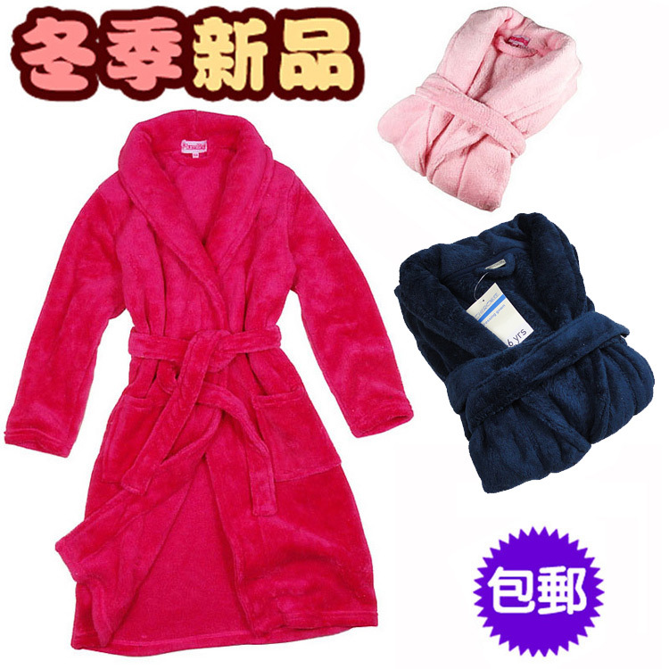 Medium-large child autumn and winter thickening coral fleece bathrobe boy sleepwear baby robe female child sleepwear