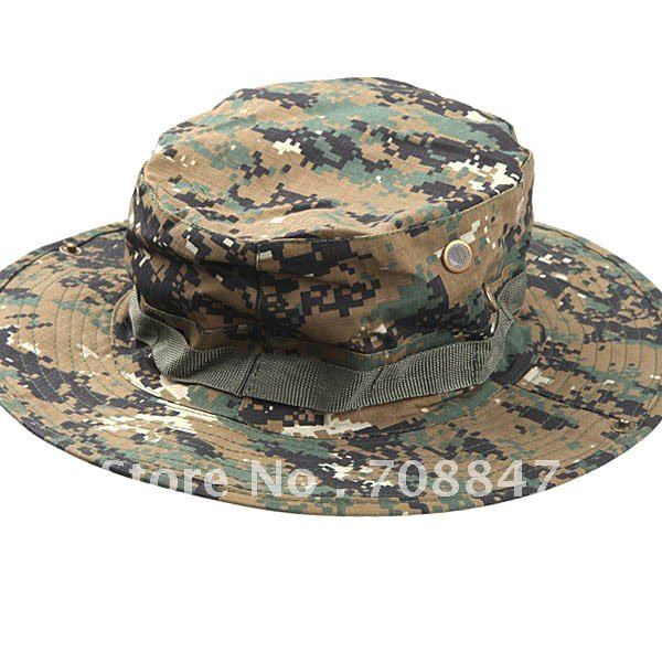 Military Army Round-brimmed Hat Sun Bonnet Digital Woodland Camo Outdoor Cap for Fishing Hiking