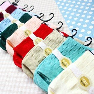 Min Order $10(mixed order)Cute candy color ramp  lady of cotton socks autumn lady socksWHOLESALE FREE SHIPPING