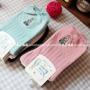 Min Order $10(mixed order)Cute Peter rabbit stripes cotton socks over-the-calf  lady  stockings WHOLESALE FREE SHIPPING