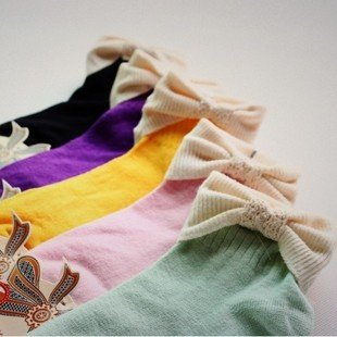 Min Order $10(mixed order) Retail  Candy cute college wind bowknot cotton socks,ladies's slippers