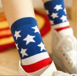 Min Order $10(mixed order) Retail Creative STRIPES FLAG five-pointed star autumn cotton socks women stocking