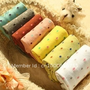 Min Order $10(mixed order) Retail  Cute cartoon candy color dot in tube socks