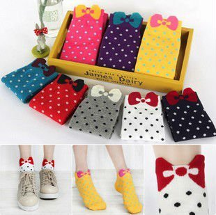 Min Order $10(mixed order) Retail Cute  cotton  bow wave little lady Polka Dot socks,wolesale &free shipping
