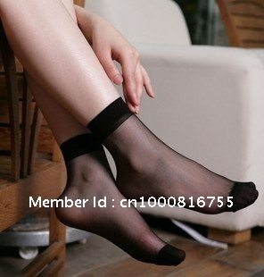 Min Order $10(mixed order) Retail  Wear resistant black crystal silk short female sox ultra-thin transparent socks