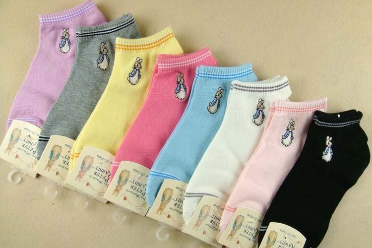 Min.Order$15 High quality Peter rabbit double needle restoring ancient ways cotton socks pure color cotton ankle socks DW2032