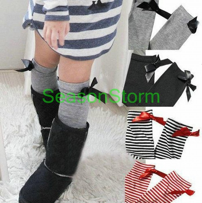 Min Order $20 (mixed order) Retail Girls Fashion Prince Bowknot KneeHigh Cotton Tube Socks 4 Colors (SY-47)