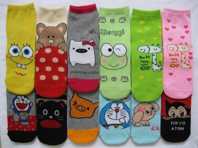 Min Order $20 (mixed order) Retail Hot Sale Lovely Cartoon Animal Socks / Cute Lady Cotton Short Sock (SM-01)