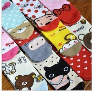 Min. order is $15 (mix order) 2529 2012 new women's fashion cartoon printed casual knit cotton socks