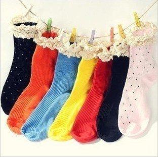 Min.order is $15 (mix order) Fashion Women's Sock Cotton Warm stripe lace Soks AQ3363
