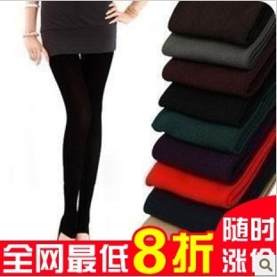 Min order is US$15 (mixed order) Autumn and winter plus women's plus size pencil Pantyhose stockings fleece warm pants