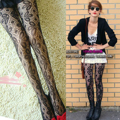 MIX-ORDER 10USD Fashion Fishnet Women's Stockings Sexy Lace Flower Black Tight Leggings Free Shipping #P0011-609