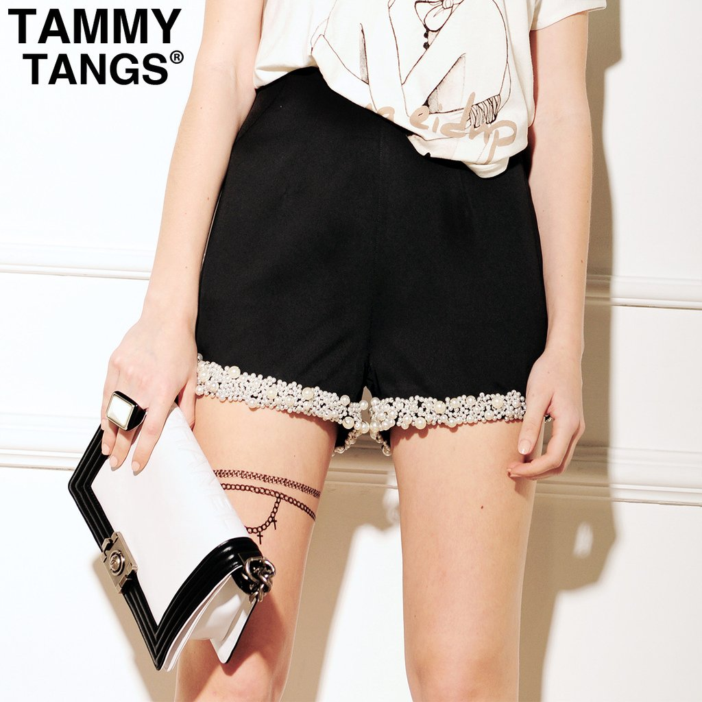 Mixtips 2012 women's summer high waist vintage slim black shorts beach pants shorts
