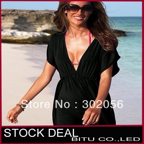 MOQ 1PCS Free shipping 11 color in stock sexy Swimwear Dress Bikini Cover-Up beach dress NZ034p