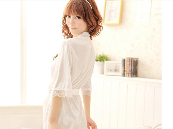 MS spring and autumn silk sleepwear bathrobe Nightgown code transparent underwear dress suit temptation