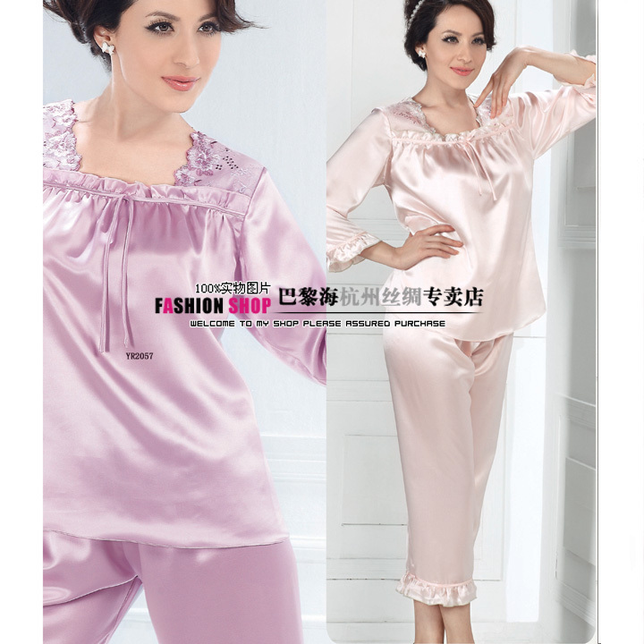 Mulberry silk sleepwear lounge female laciness wrist-length sleeve ankle length trousers set 2057