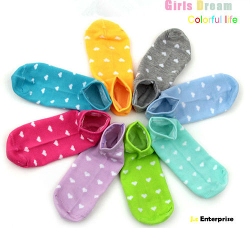 NEW 12 Pairs Cotton Multiple Colors Lovely Heart Pattern Casual Low Cute  Candy color summer women ankle sock slippers wholesale