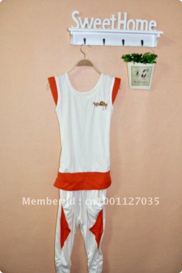 New! 2012 hot cotton pocket sport casual women ladies shirt & shorts set w/ letter & gold metal chain element FREE SHIPPING