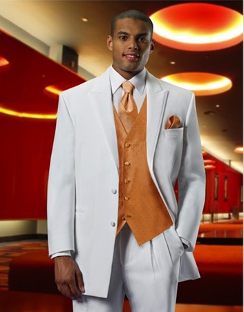 New 2013 free shipping  free bow free  orange vest white  tuxedos with Single-Breasted  mens wedding suit NO.01093